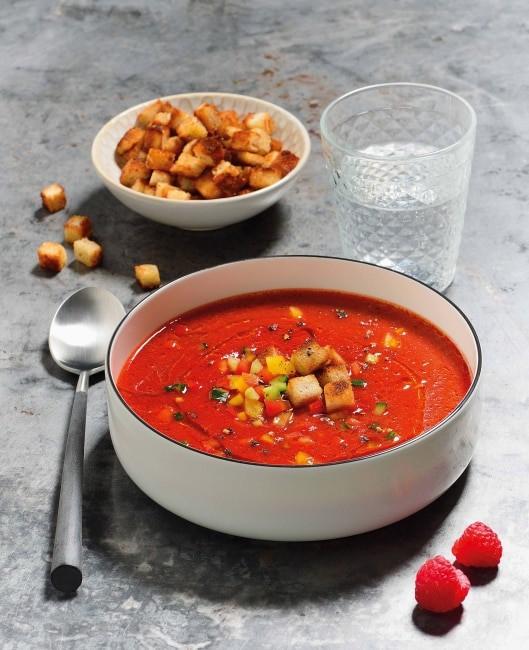 Valentinstags Rezept : Gazpacho von gegrillter Paprika und Himbeeren - 1/3
